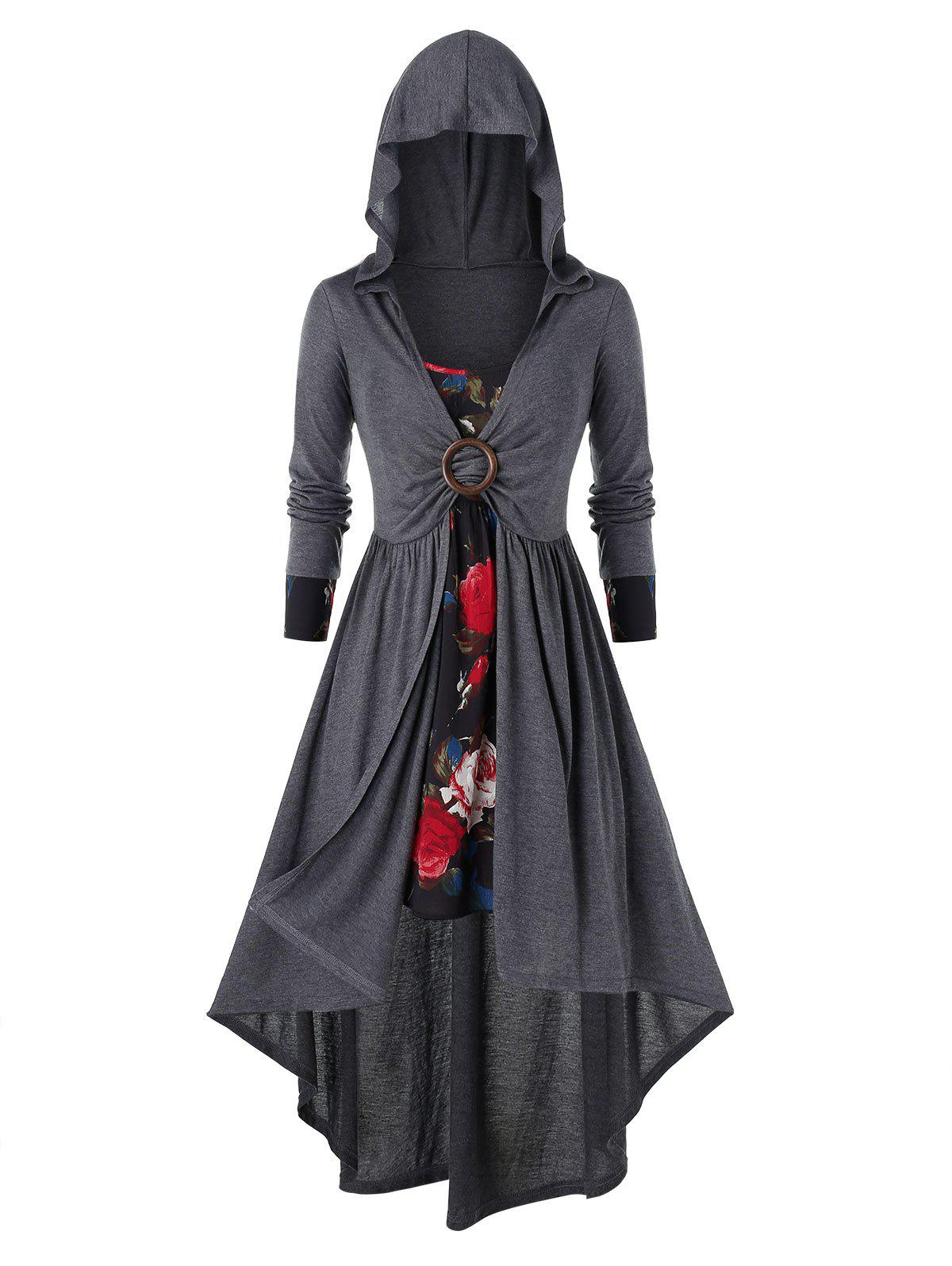Plus Size Flower Print Dress and Long Hooded Coat Set - multicolor 2X