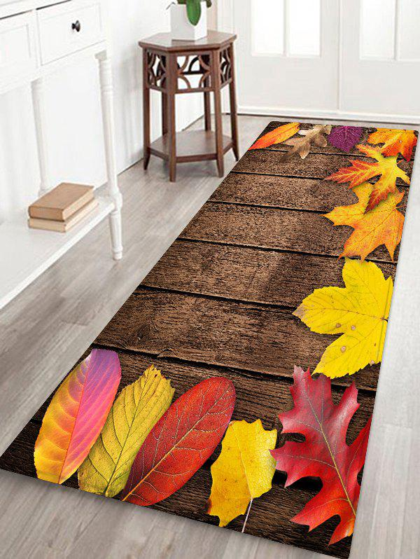 Maple Leaf Wooden Printed Floor Rug - WOOD W16 X L47 INCH