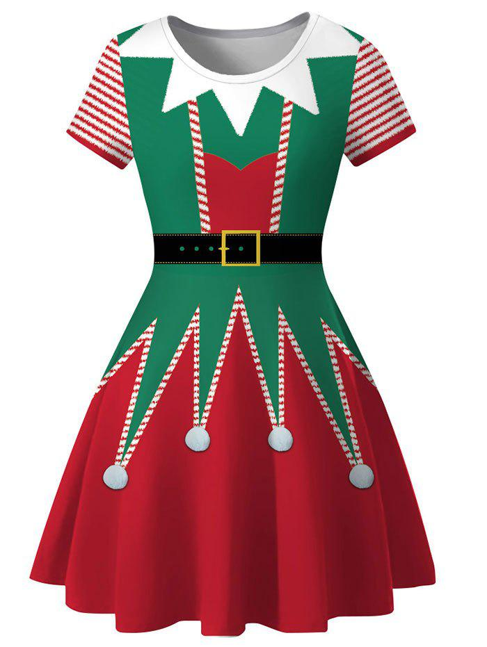 Christmas 3D Print Knee Length Dress - multicolor A XL