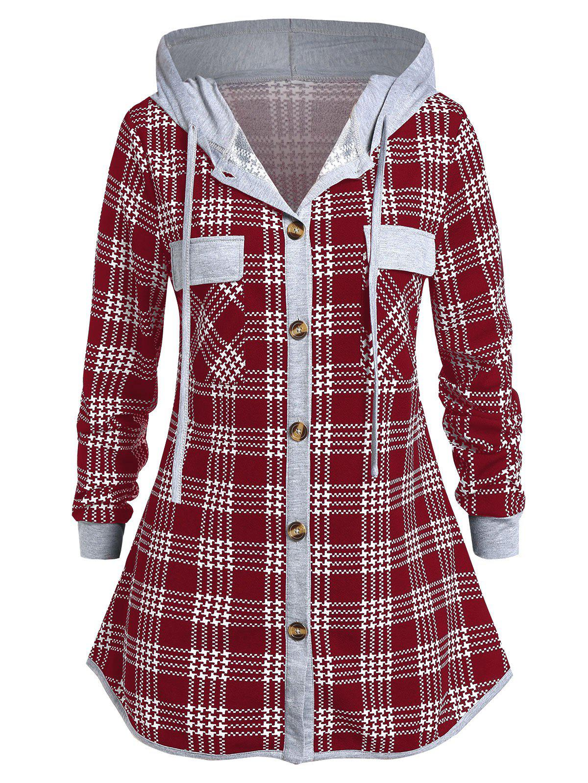 Plus Size Hooded Button Checked Shirt - RED WINE 3X