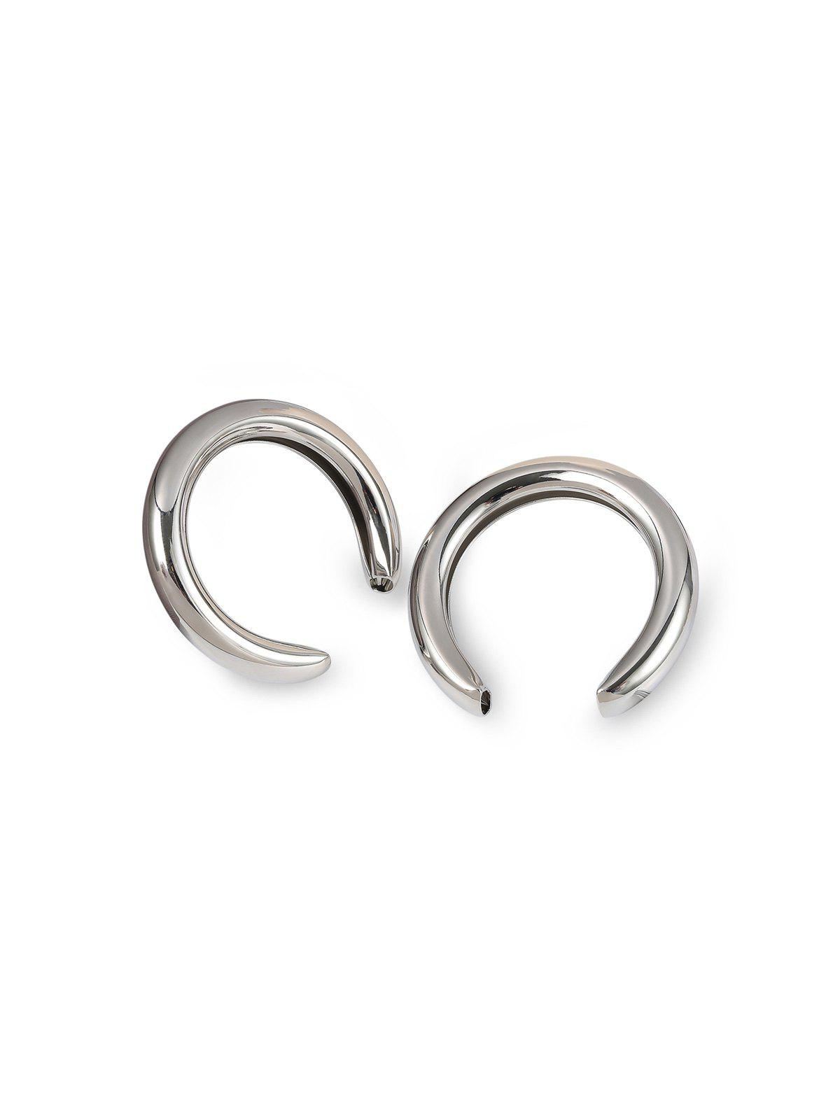 Exaggerated Crescent Moon Stud Earrings - SILVER 5.1CM