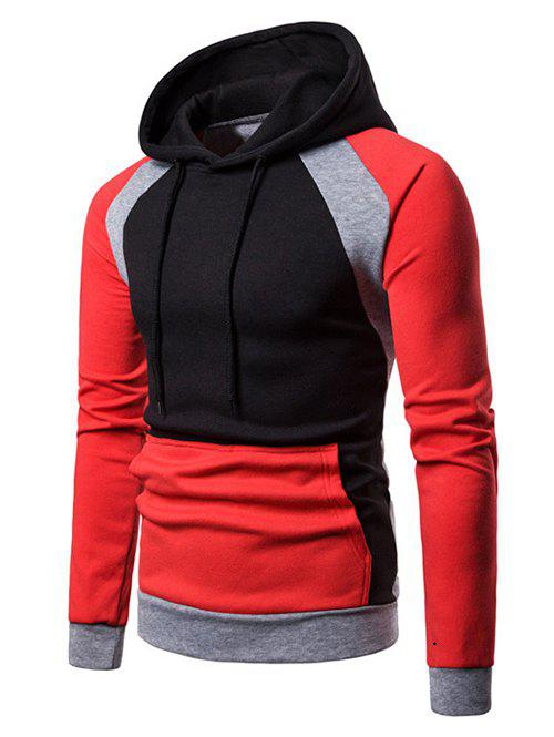 Color Blocking Splicing Raglan Sleeve Fleece Hoodie - RED M