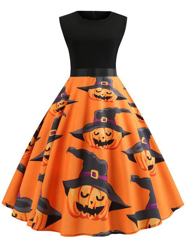 Pumpkin Print Belted Sleeveless Halloween Dress - multicolor B XL