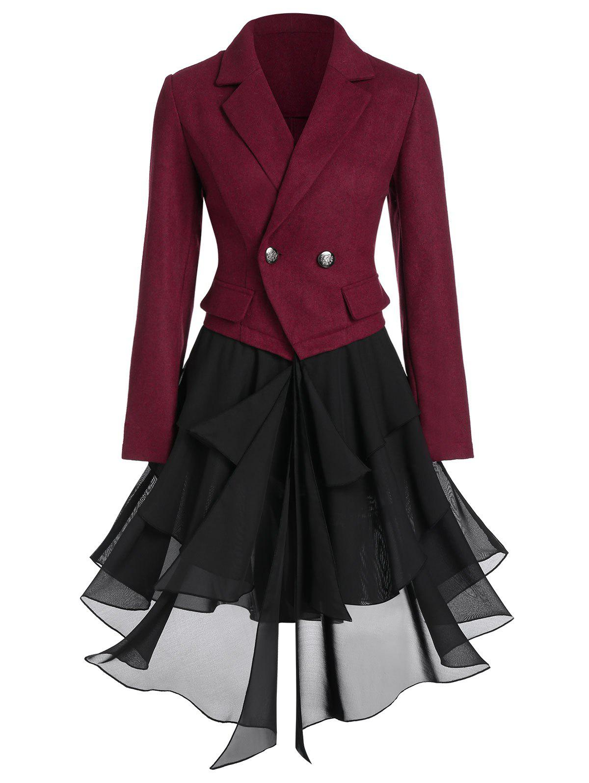 Asymmetric Lapel Contrast Coat - multicolor A XL
