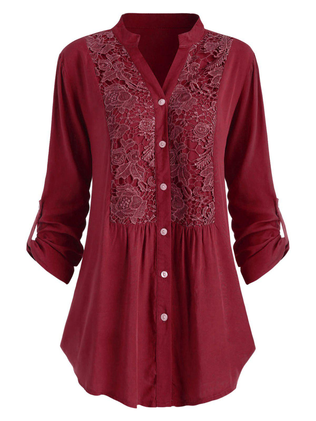 Plus Size Lace Crochet  Roll Up Sleeve Shirt - RED WINE 1X