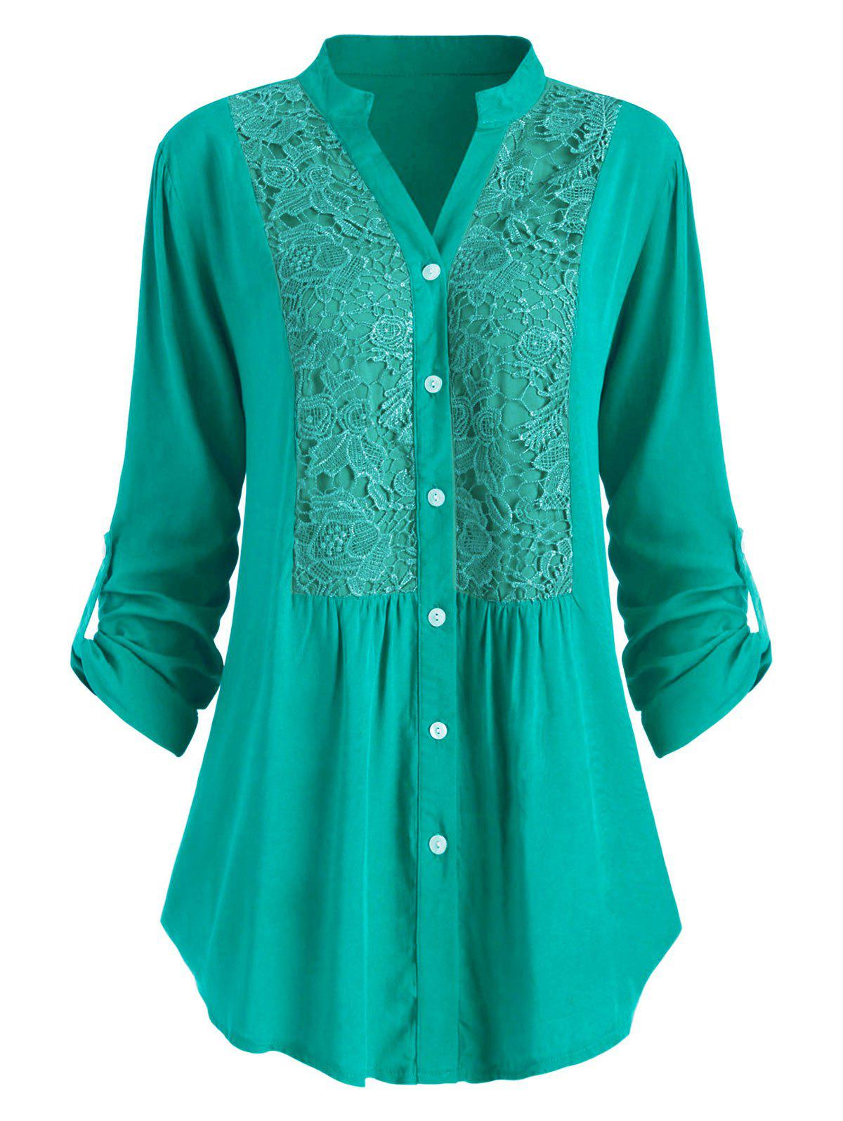 Plus Size Lace Crochet  Roll Up Sleeve Shirt - MACAW BLUE GREEN 4X