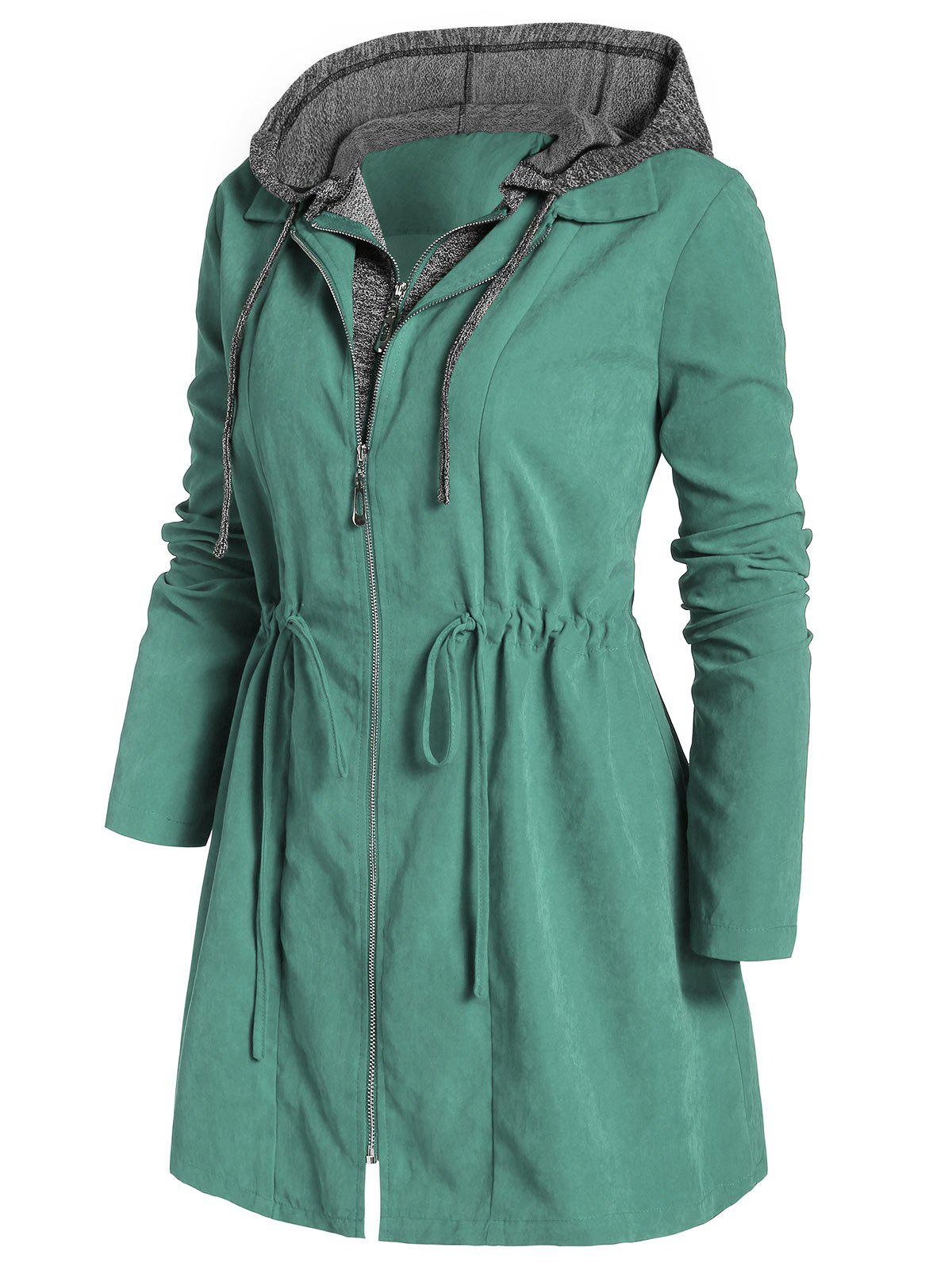 Plus Size Zipper Fly Hooded Space Dye Coat - MACAW BLUE GREEN 1X