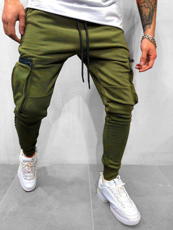Solid Side Zipper Plocket Drawstring Sport Jogger Pants - ARMY GREEN S