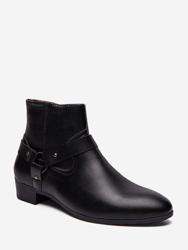 Pointed Toe Side Zip Boots - BLACK EU 41