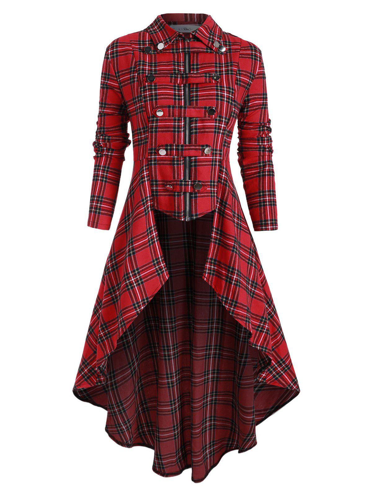 Plus Size Buckle High Low Plaid Coat - RED L