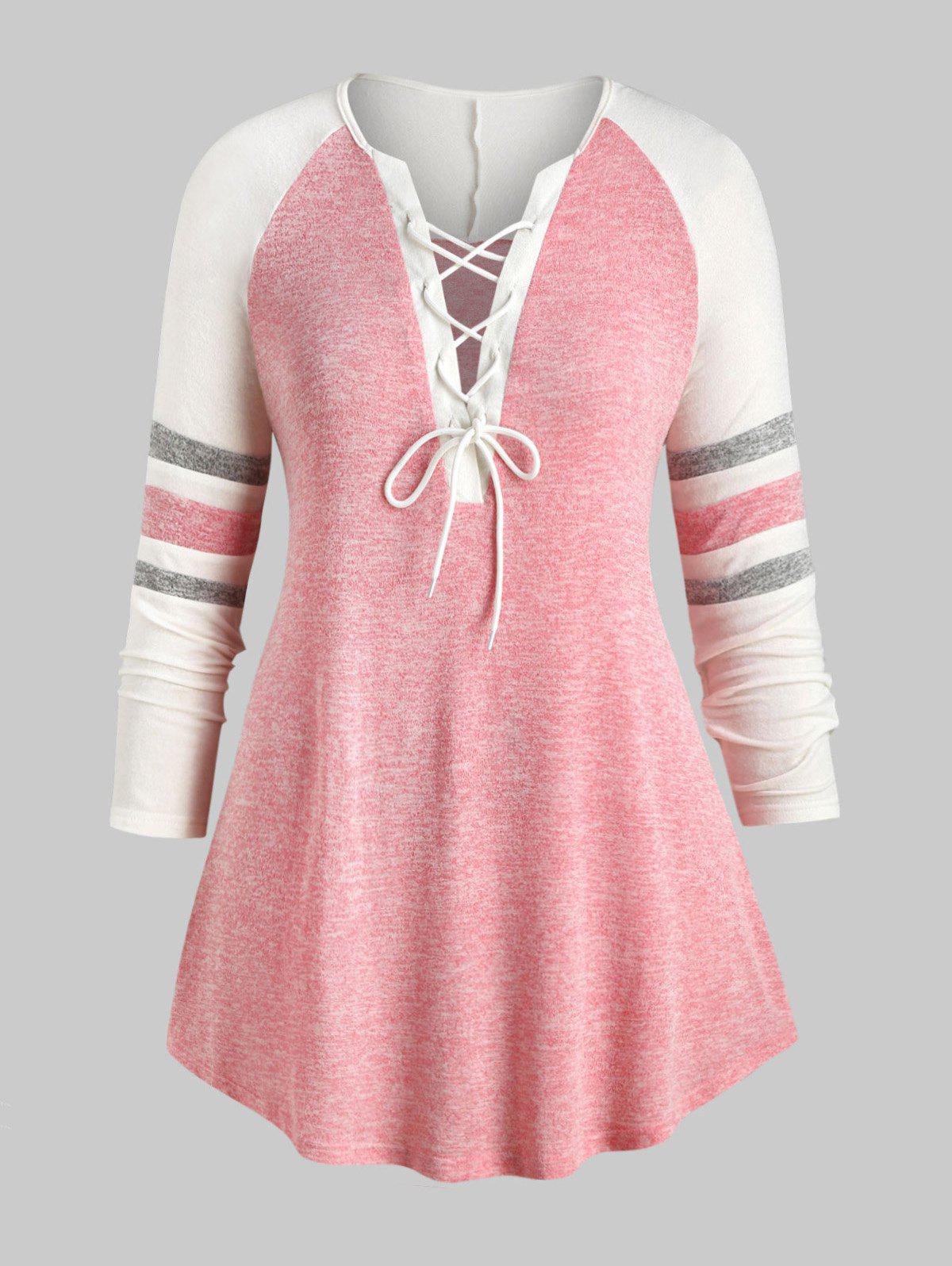 Plus Size Lace Up Heathered Striped Longline Tee - PINK 5X