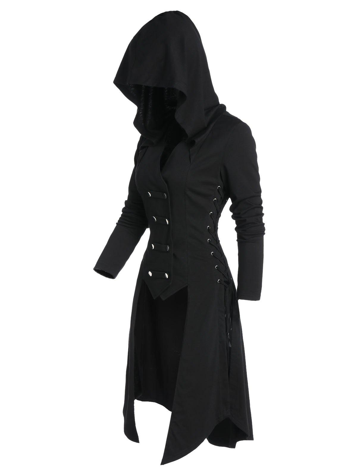 Hooded Lace-up Button Up High Low Steampunk Coat - BLACK 2XL