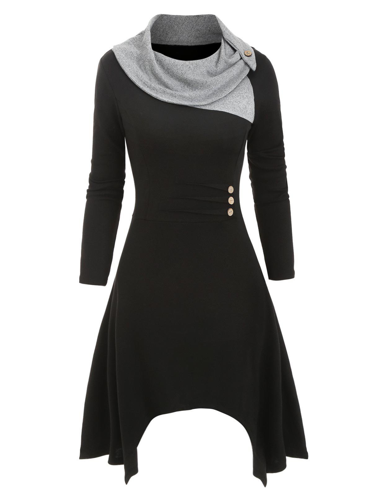 Cowl Neck Button Embellished Asymmetrical Knitted Dress - BLACK 3XL