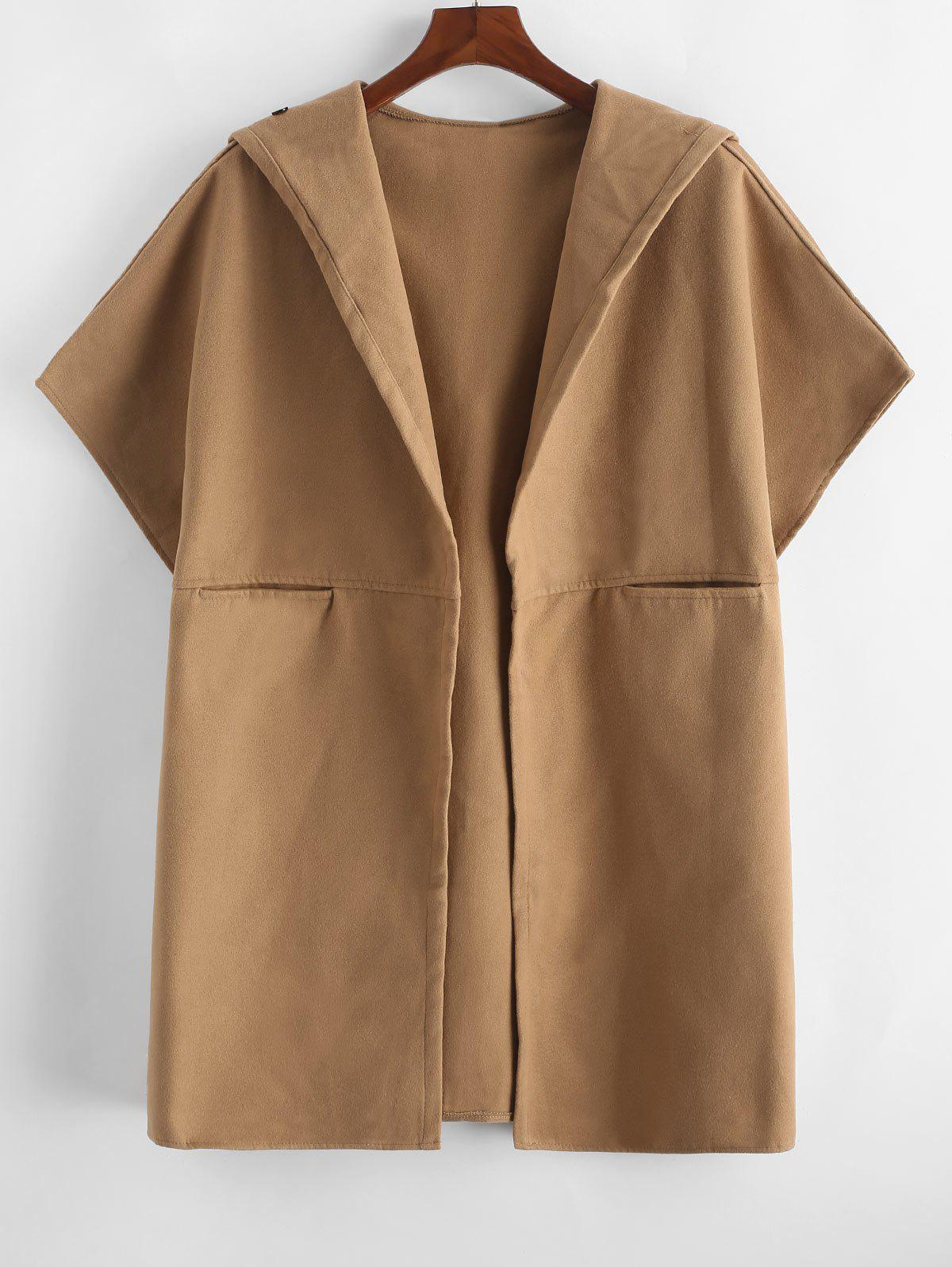 Plus Size Hooded Open Front Cape Coat - CINNAMON 1X