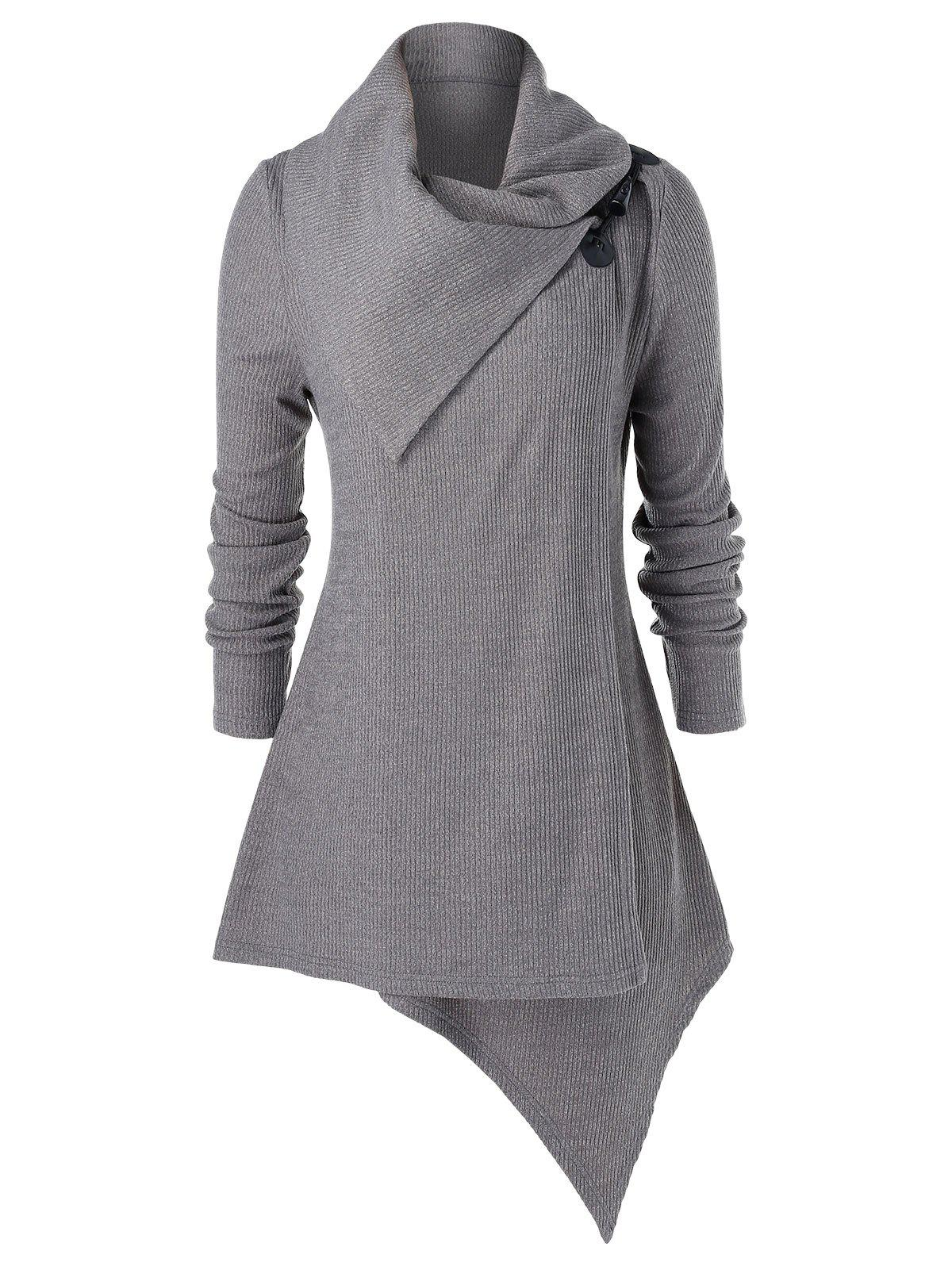 Plus Size Buckle Asymmetrical Knitwear - GRAY L