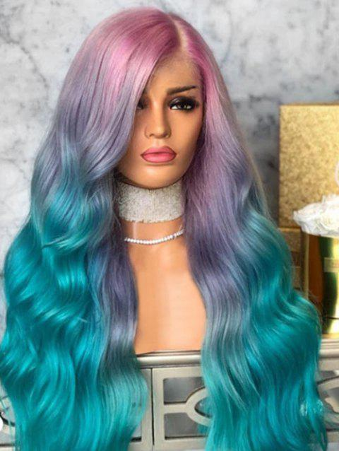 Ombre Long Side Part Synthetic Wavy Wig - MEDIUM TURQUOISE 24INCH