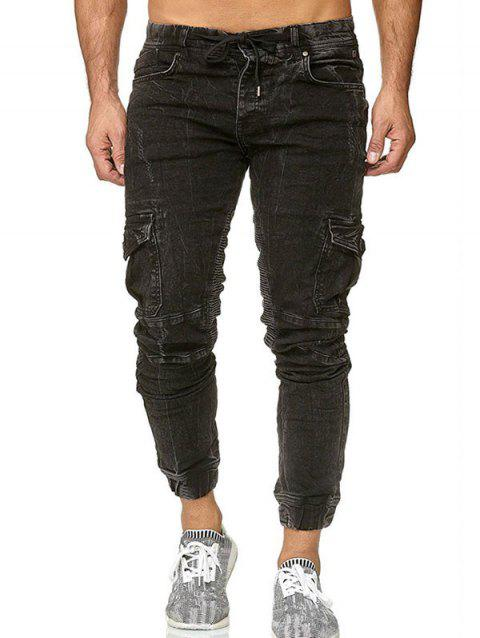 Pocket Drawstring Decoration Jogger Jeans - BLACK XL