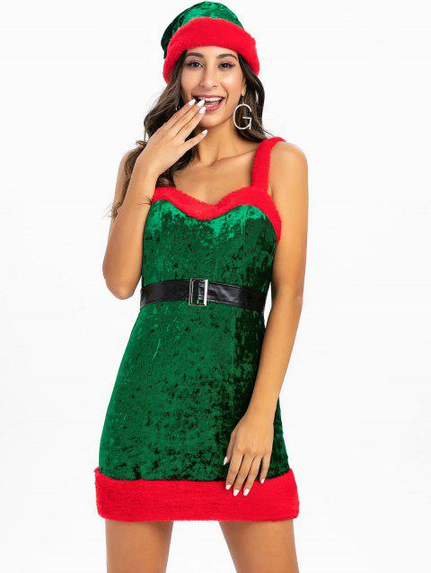 Faux Fur Christmas Cosplay Santa Claus Dress With Hat - CLOVER GREEN M