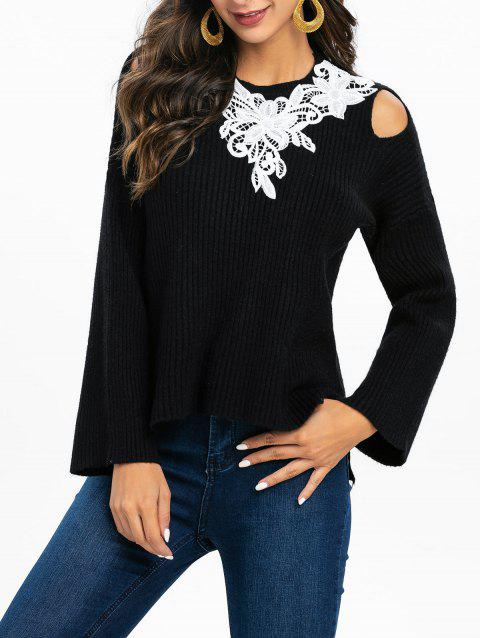 Cold Shoulder Guipure Lace High Low Sweater