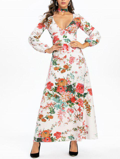 Flower Choker Long Sleeve Maxi Dress