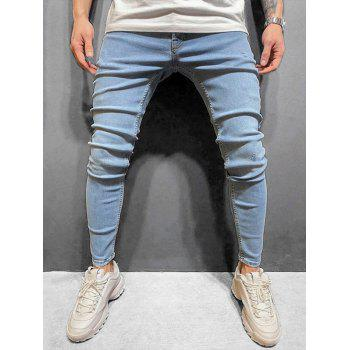 Solid Color Zip Fly Slim Cuffed Jeans