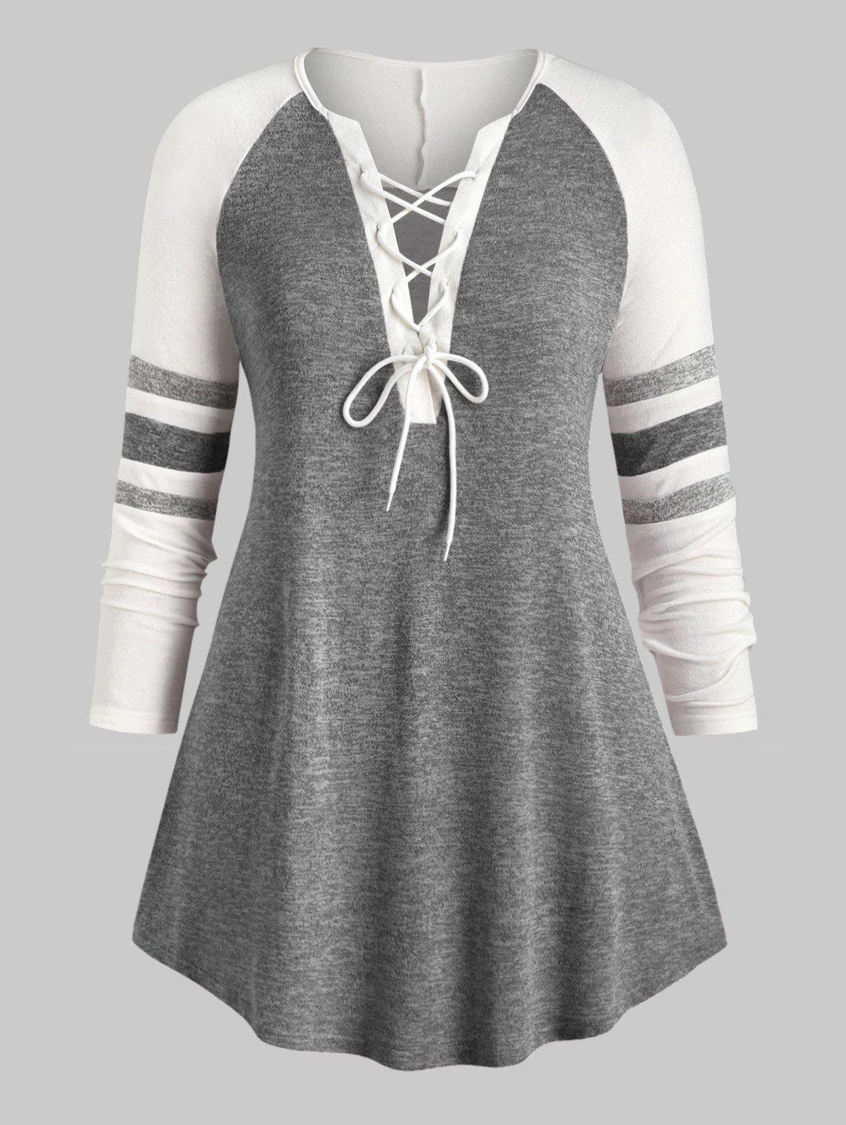 Plus Size Lace Up Heathered Striped Longline Tee - GRAY 3X