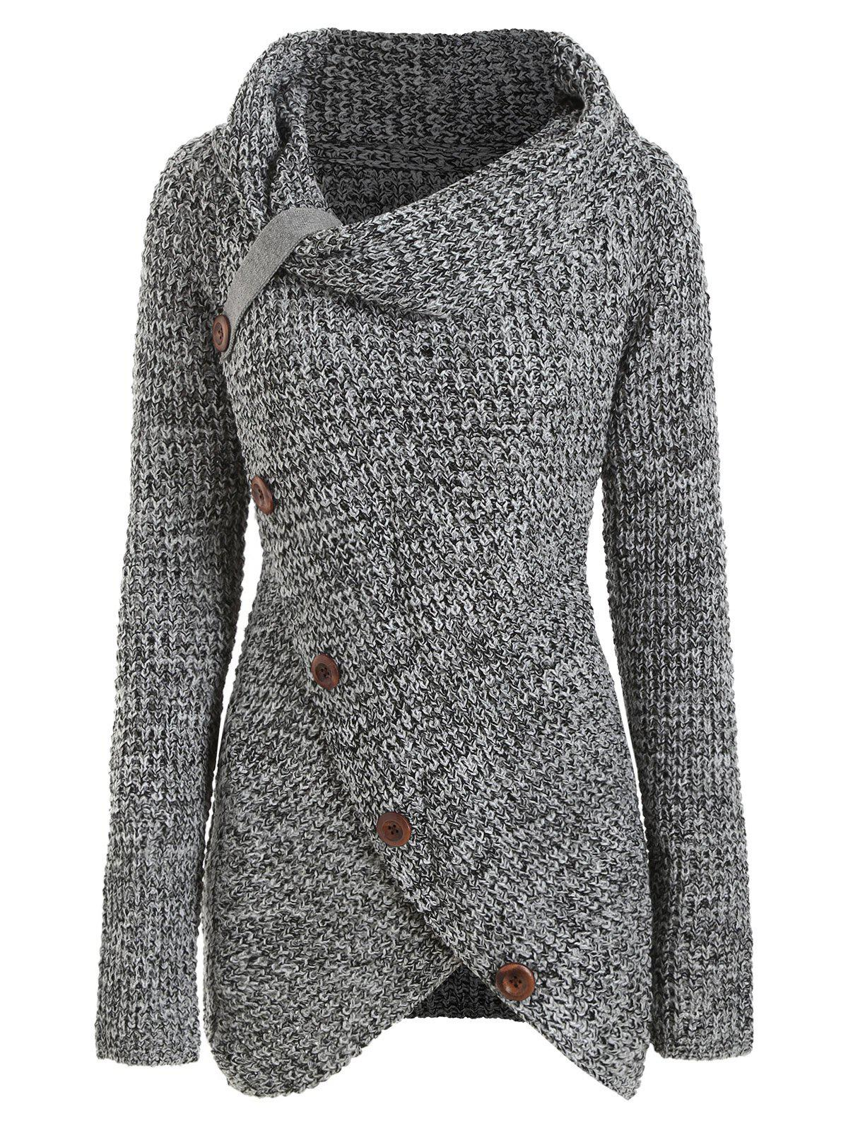 Buttoned Cowl Neck Overlap Pullover Plus Size Sweater - GRAY L