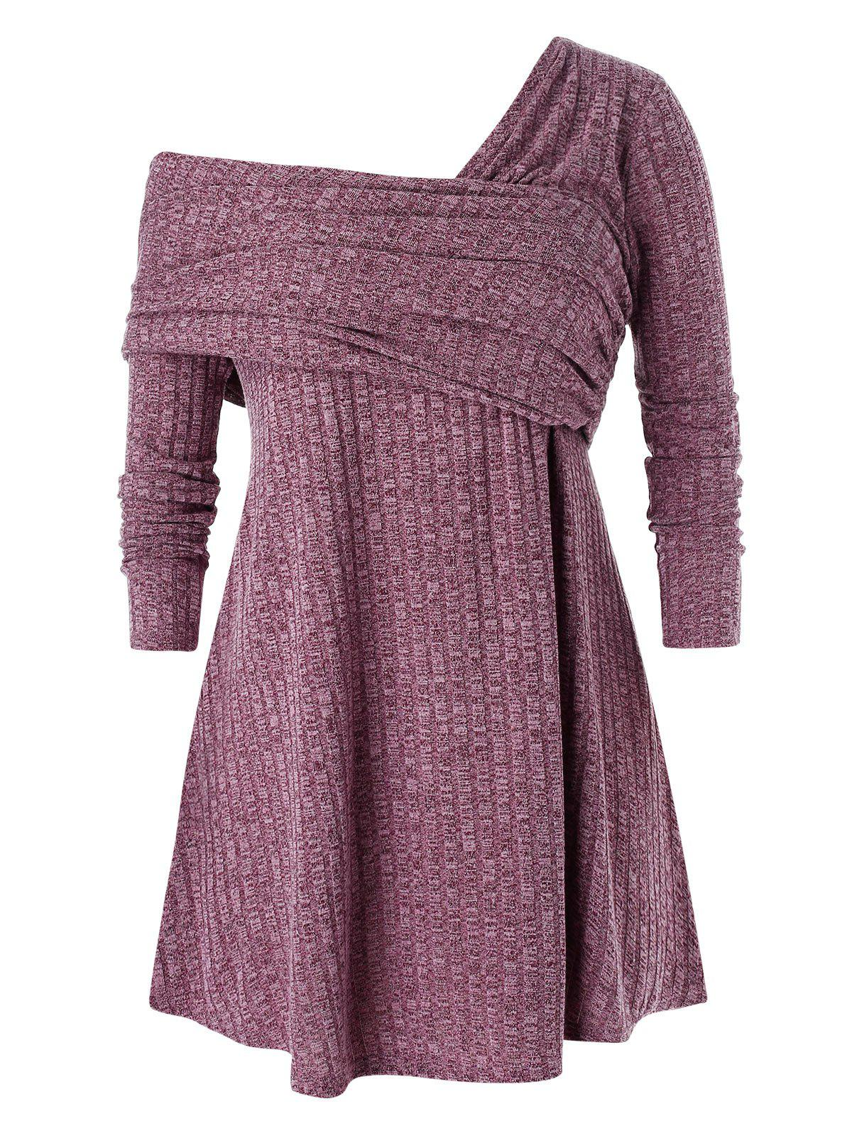 Plus Size Skew Neck Crossover Marled Knitwear - RED WINE 4X