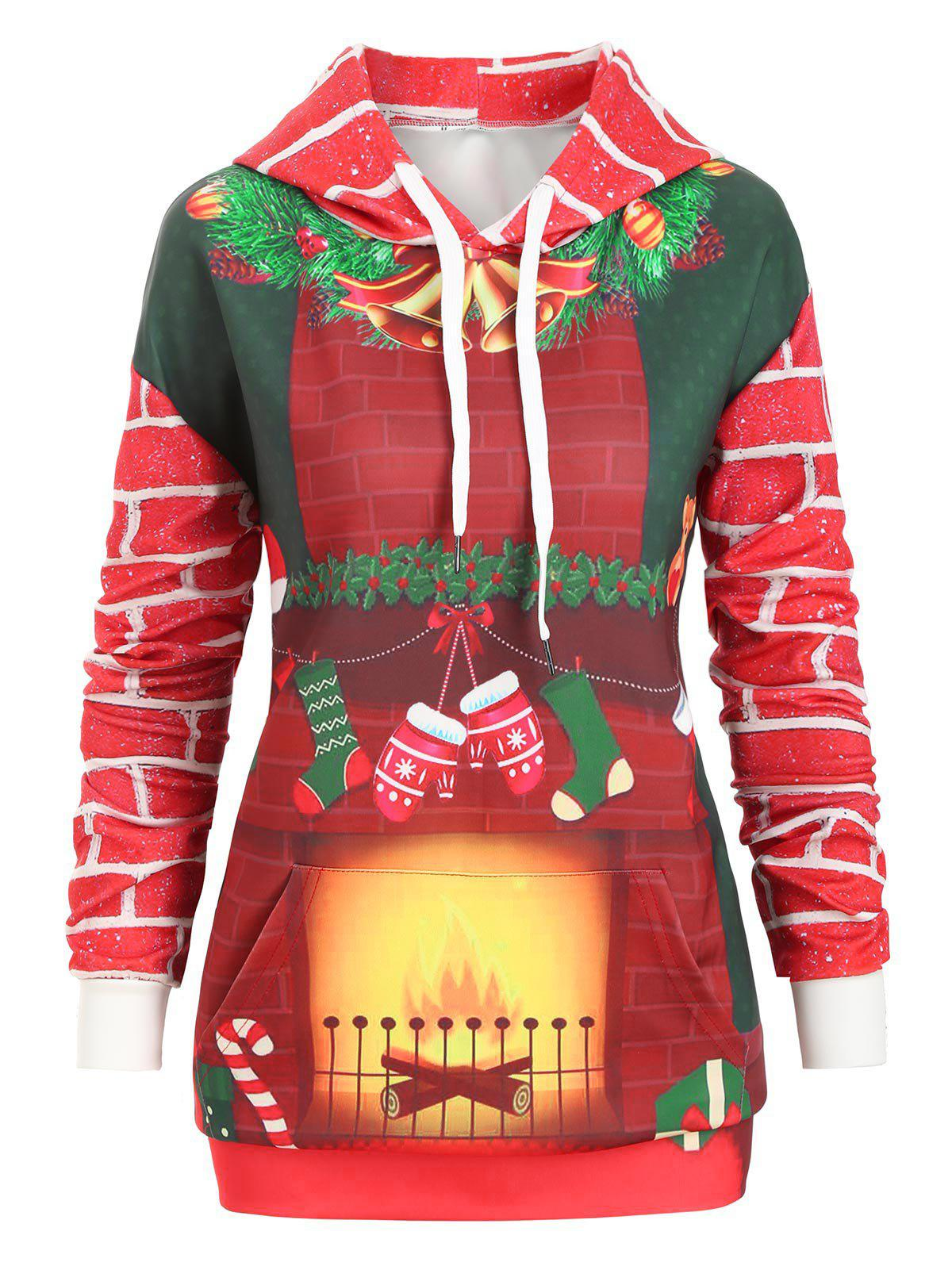 Christmas Drawstring Kangaroo Pocket Printed Tunic Hoodie - multicolor C S