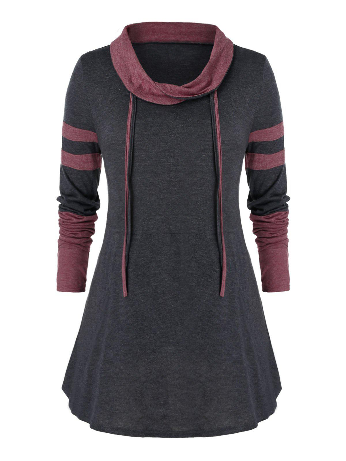 Plus Size Contrast Turn-down Collar Tunic T Shirt - CARBON GRAY 5X