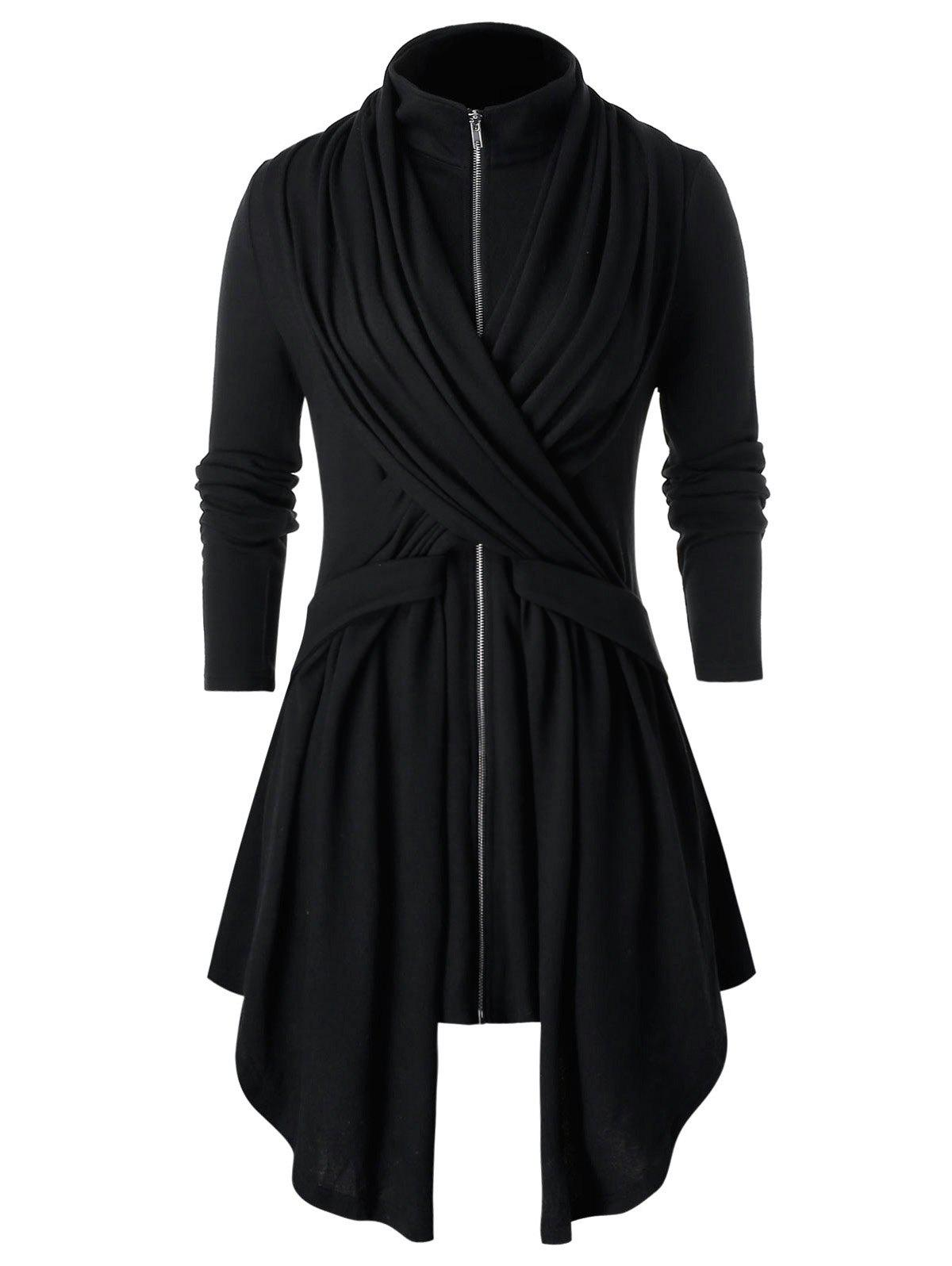 Plus Size Asymmetrical Solid High Collar Coat - BLACK 2X