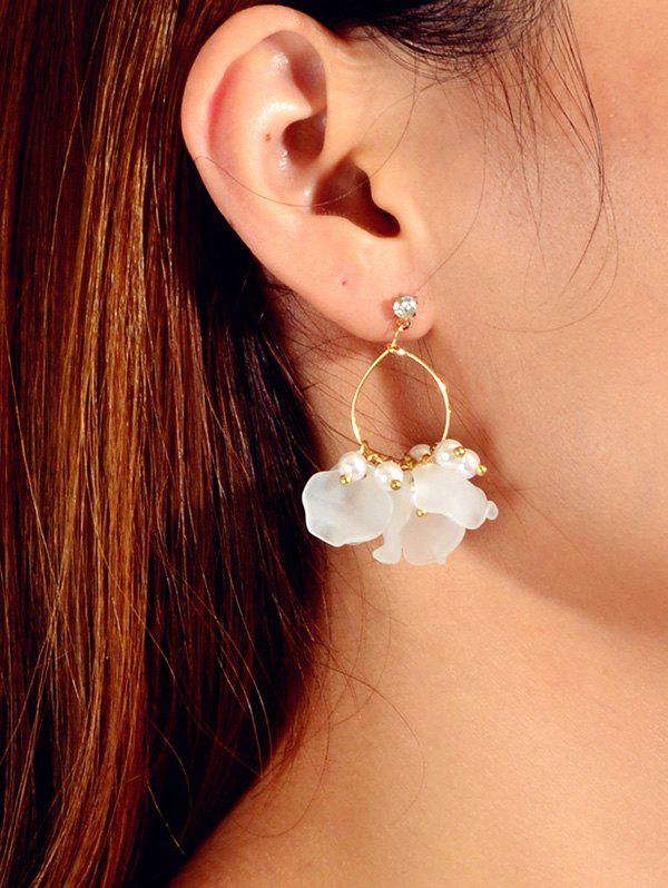 Floral Faux Pearl Circle Drop Earrings - GOLD