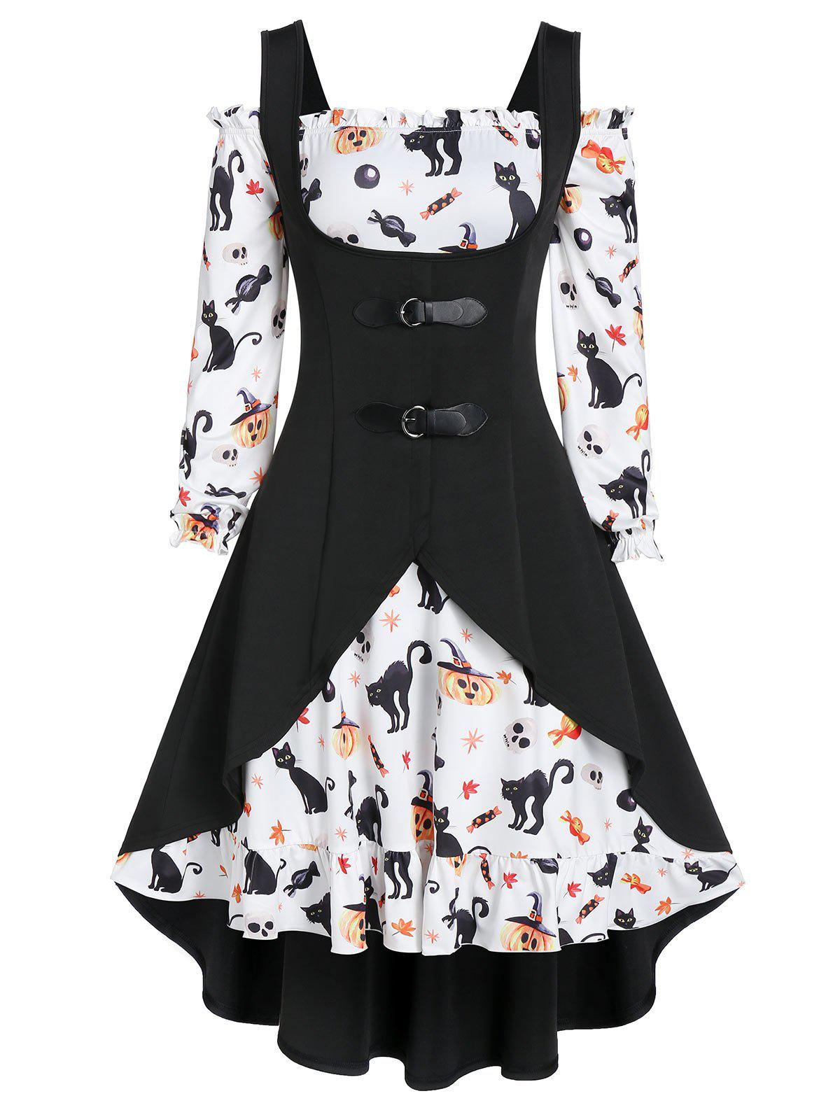 A Line Pumpkin Print Halloween Dress with High Low Top - BLACK 2XL