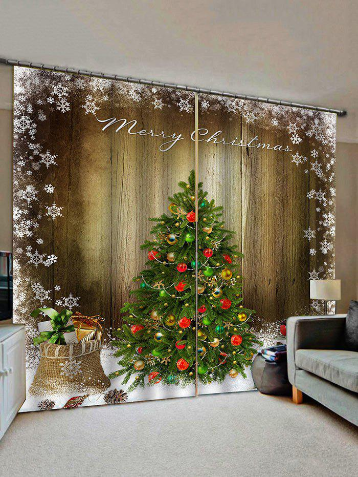 Merry Christmas Tree Gift Wooden Pattern Window Curtains - multicolor W28 X L39 INCH X 2PCS