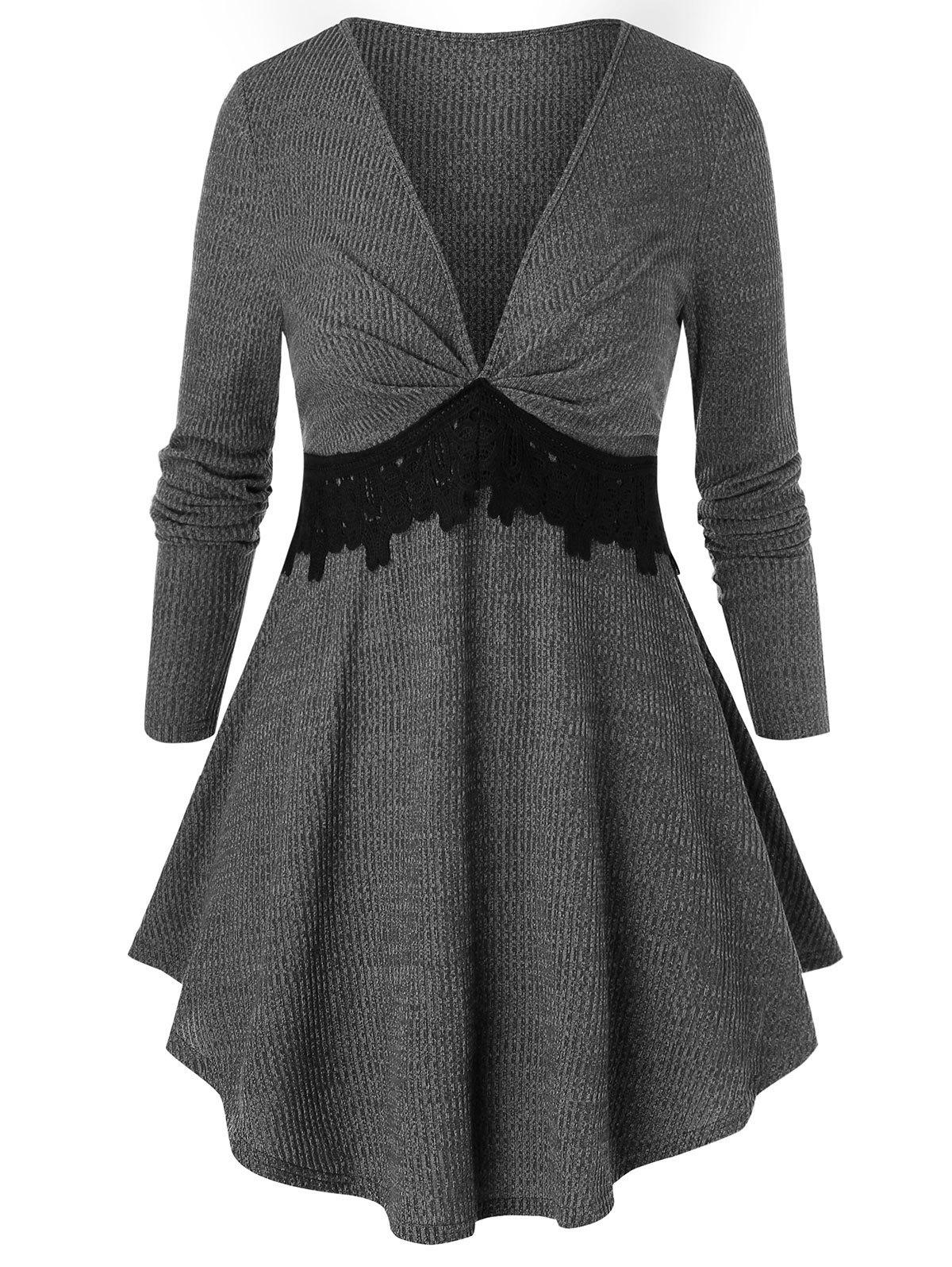 Plus Size Plunging Neck Lace Insert Marled Knitwear - GRAY 5X