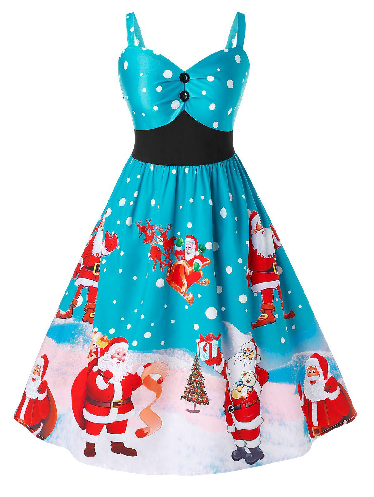 Plus Size Christmas Vintage Santa Claus Print Party Dress - SILK BLUE 4X