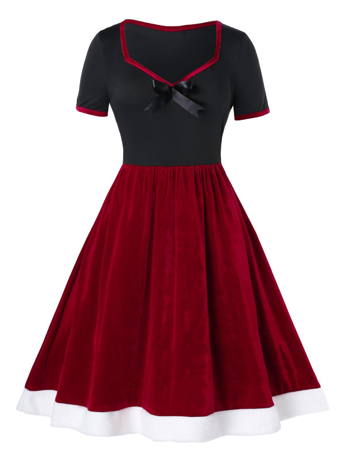 Plus Size Two Tone Velvet Dress Swing Vintage - Rouge Cerise 4X