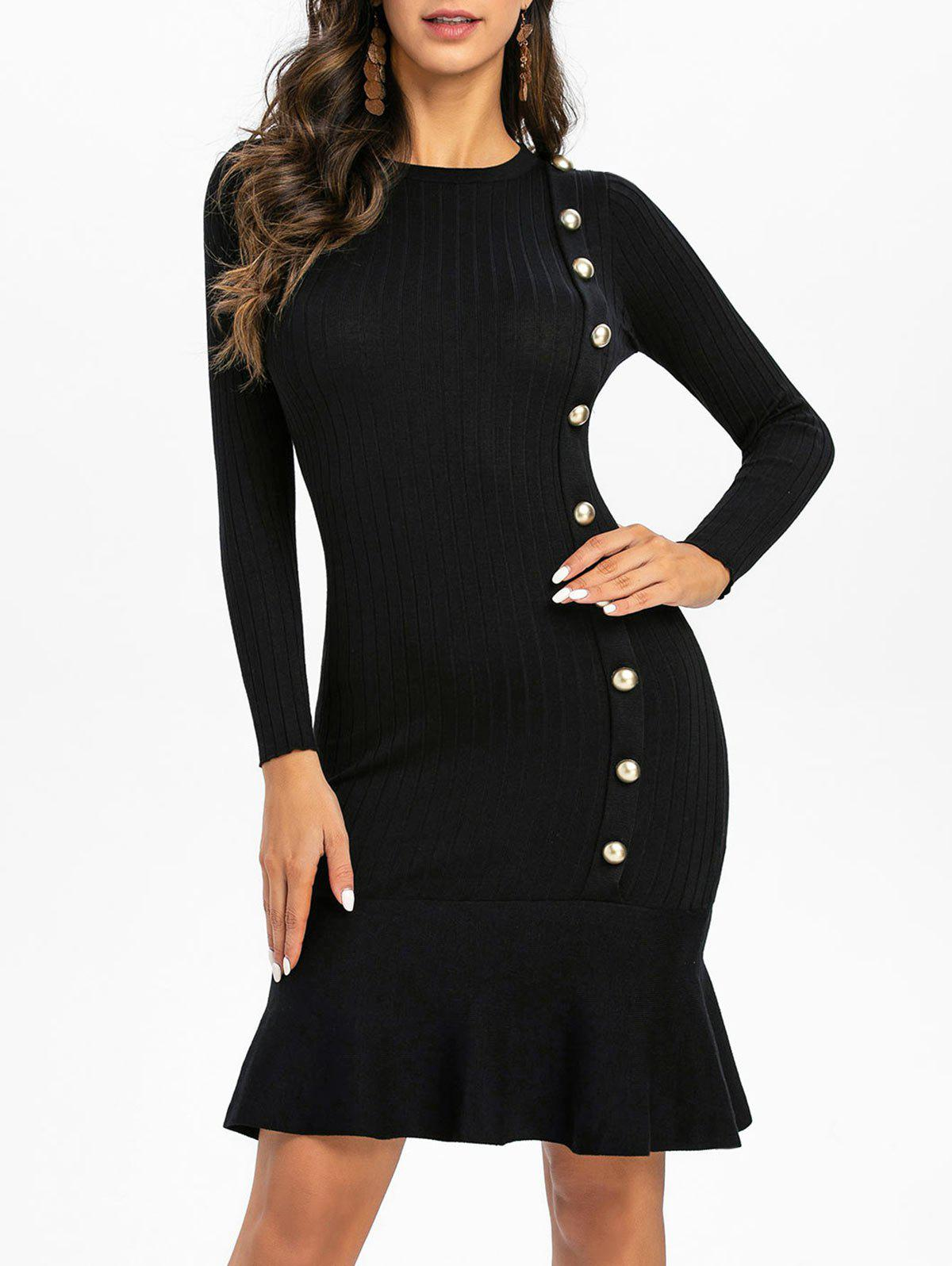 Knitted Button Embellished Mermaid Dress - BLACK ONE SIZE