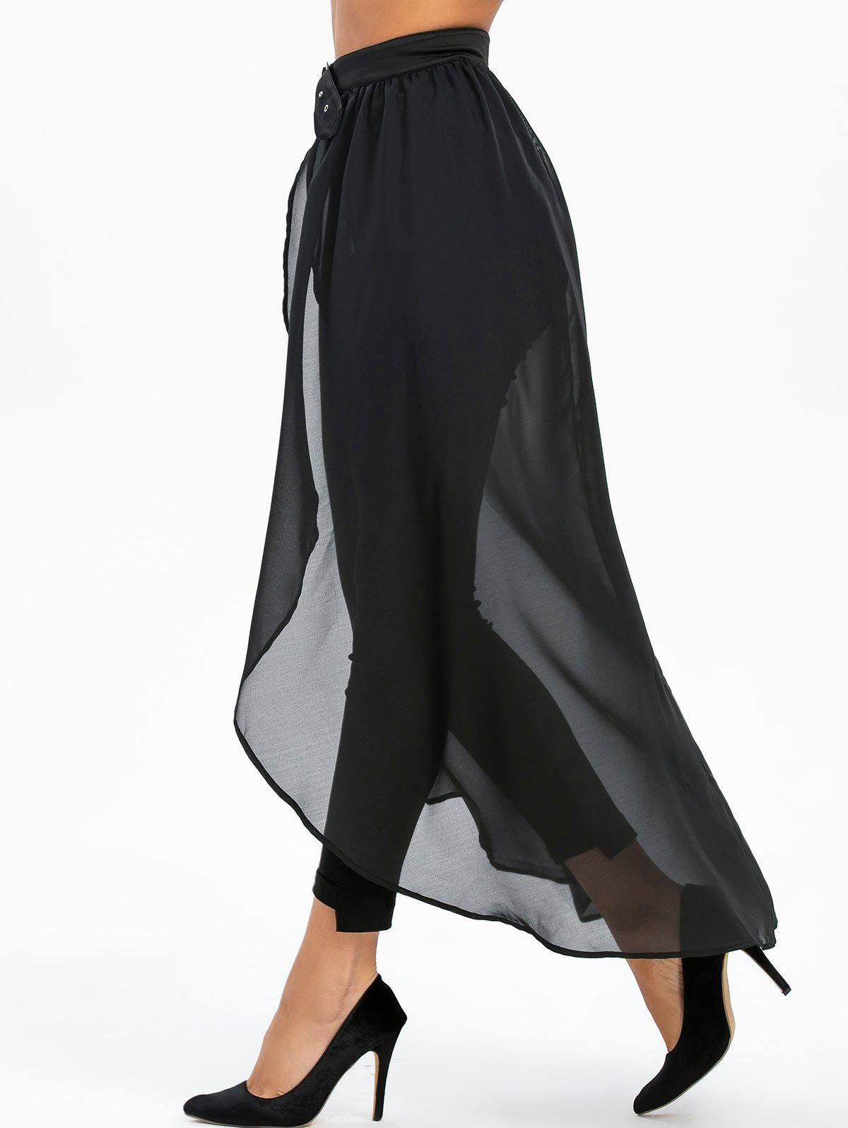 Buckle Strap High Slit See Through High Low Maxi Skirt - BLACK 3XL