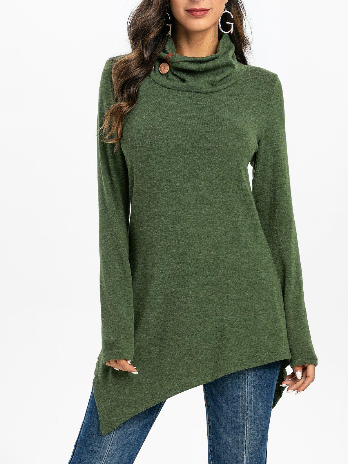 Cowl Neck Button Embellished Asymmetrical Sweater - ARMY GREEN XL