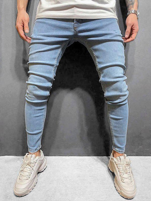 Solid Color Zip Fly Slim Cuffed Jeans - JEANS BLUE S