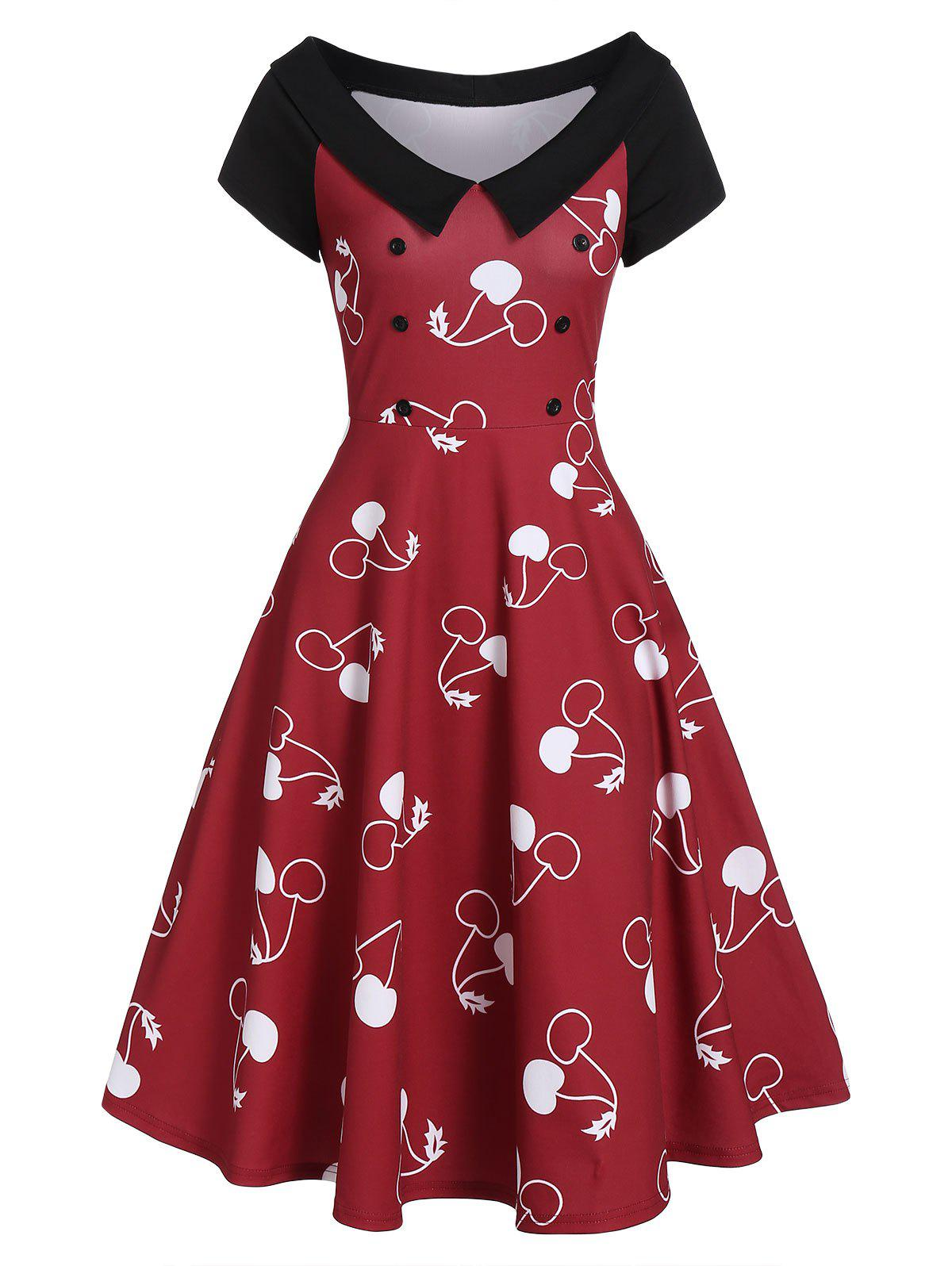 Vintage Cherry Print Swing Dress - RED M