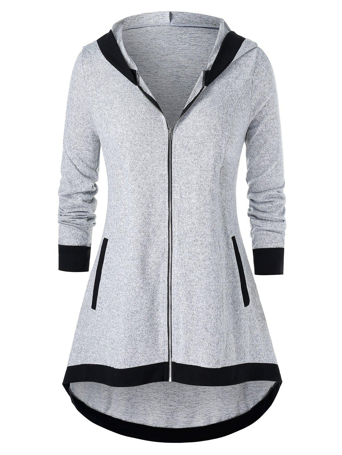 Plus Size High Low Contrast Zipper Fly Coat - GRAY GOOSE L
