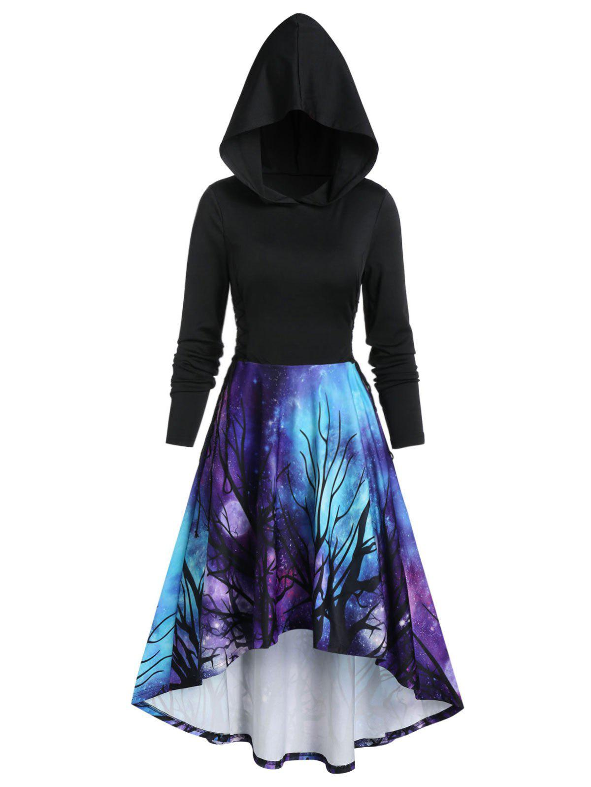 Halloween 3D Galaxy Tree Print High Low Hoodie - BLACK 2XL