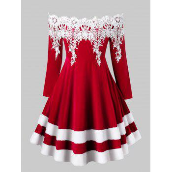 Plus Size Off The Shoulder Faux Fur Velvet Christmas Dress