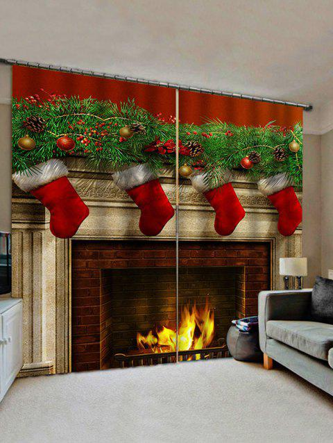 2 Panels Christmas Fireplace Stockings Print Window Curtains