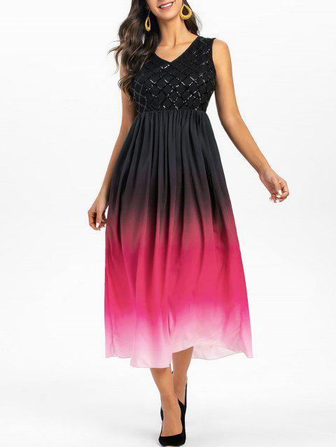 Sleeveless Sequin Insert Ombre Prom Dress - multicolor 2XL