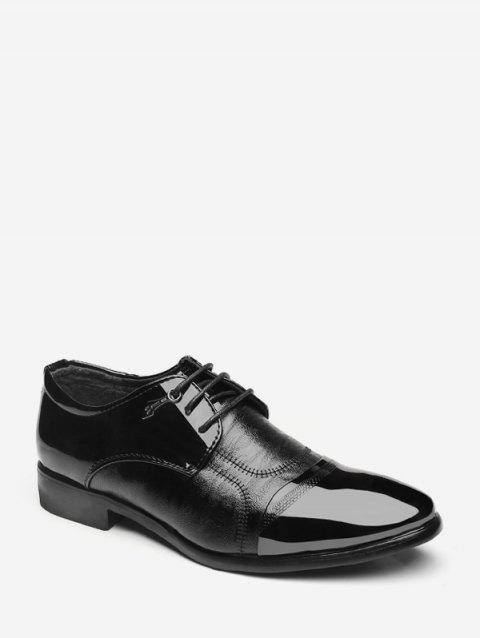 Patent Leather Panel Lace Up Work Shoes - BLACK EU 39