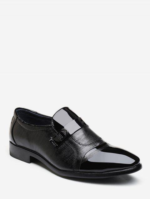 Patent Leather Panel Pointed Toe Business Shoes - BLACK EU 44