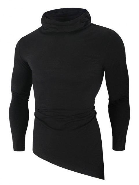 Solid Color High Low Long Sleeve Hooded T-shirt - BLACK L